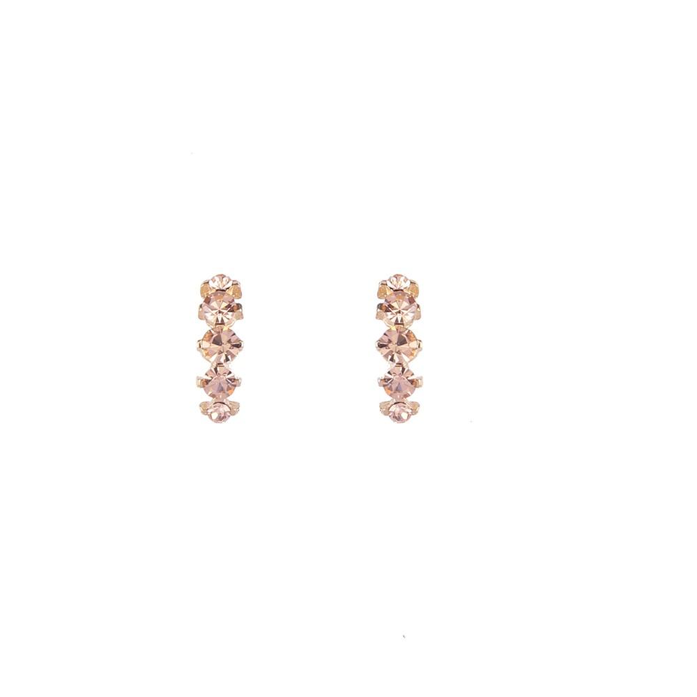 Brinco Pequeno Armazem RR Bijoux cristais rose dourado