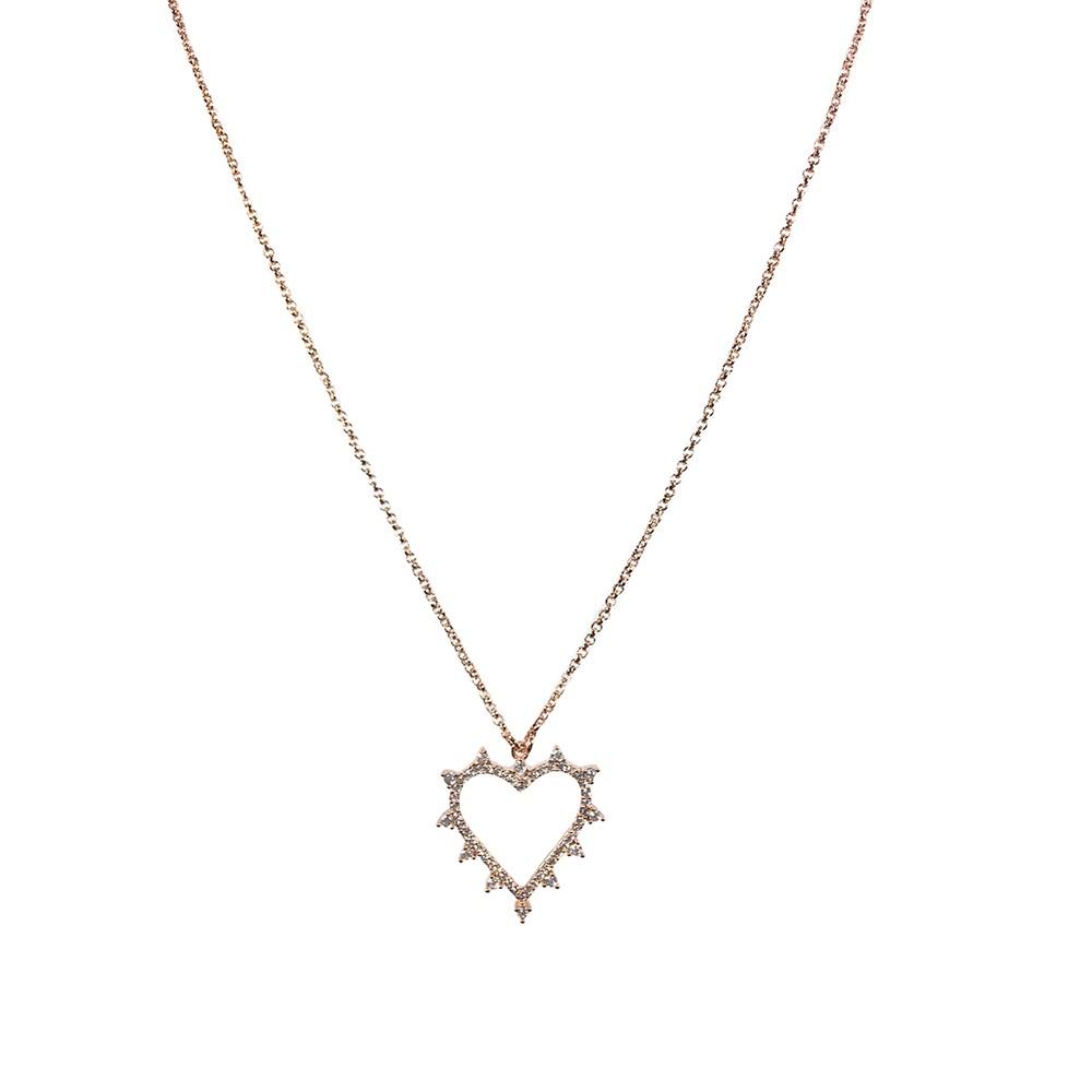 Colar Armazem RR Bijoux coração com cristais cravejados rose