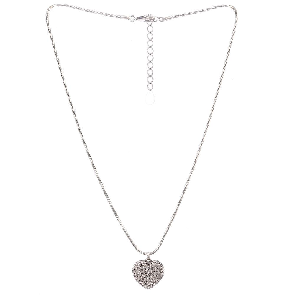Colar Armazem RR Bijoux coração cristais prata