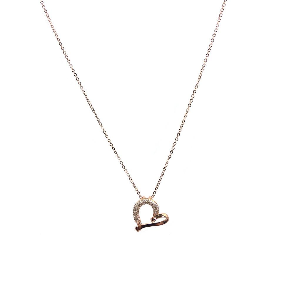 Colar Armazem RR Bijoux coração torcido com cristais rose