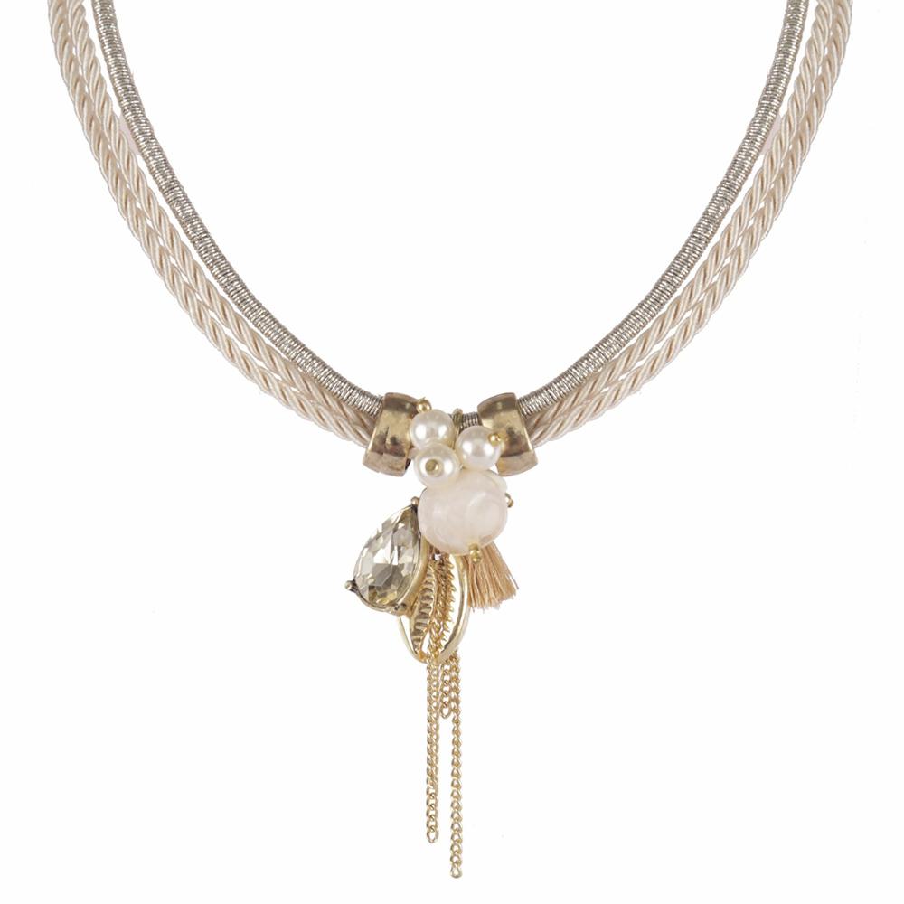 Colar Armazem RR Bijoux cordão com pingentes dourado