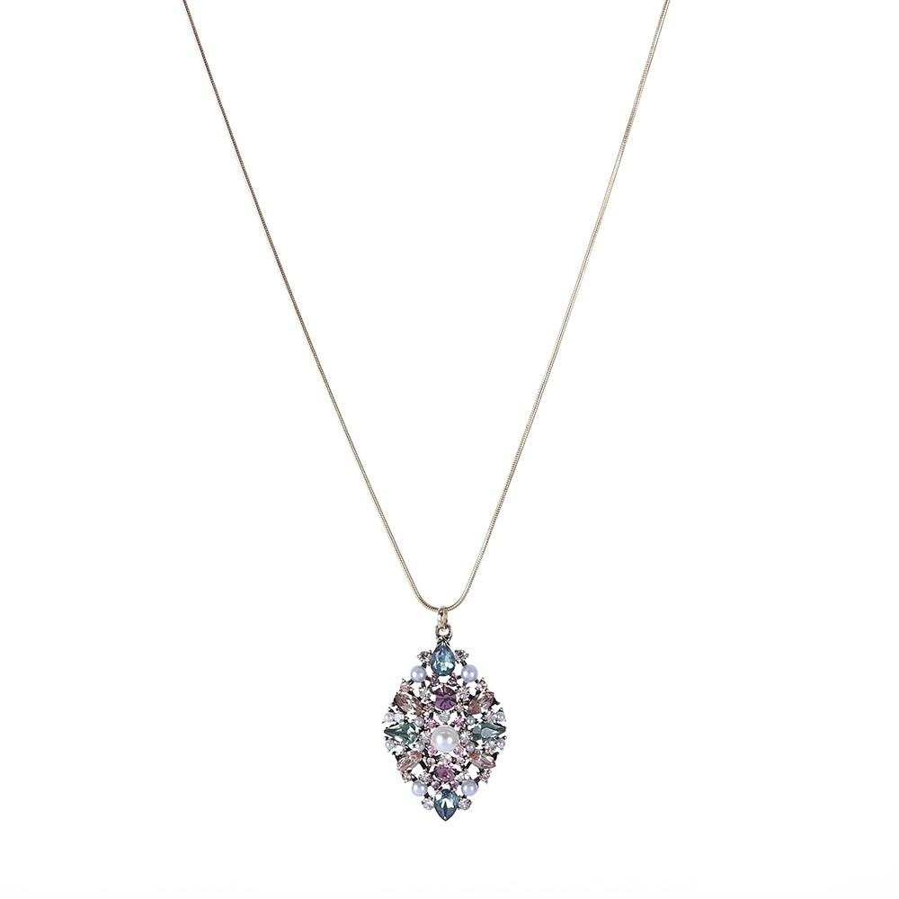 Colar Armazem RR Bijoux cristais coloridos e pérola dourado