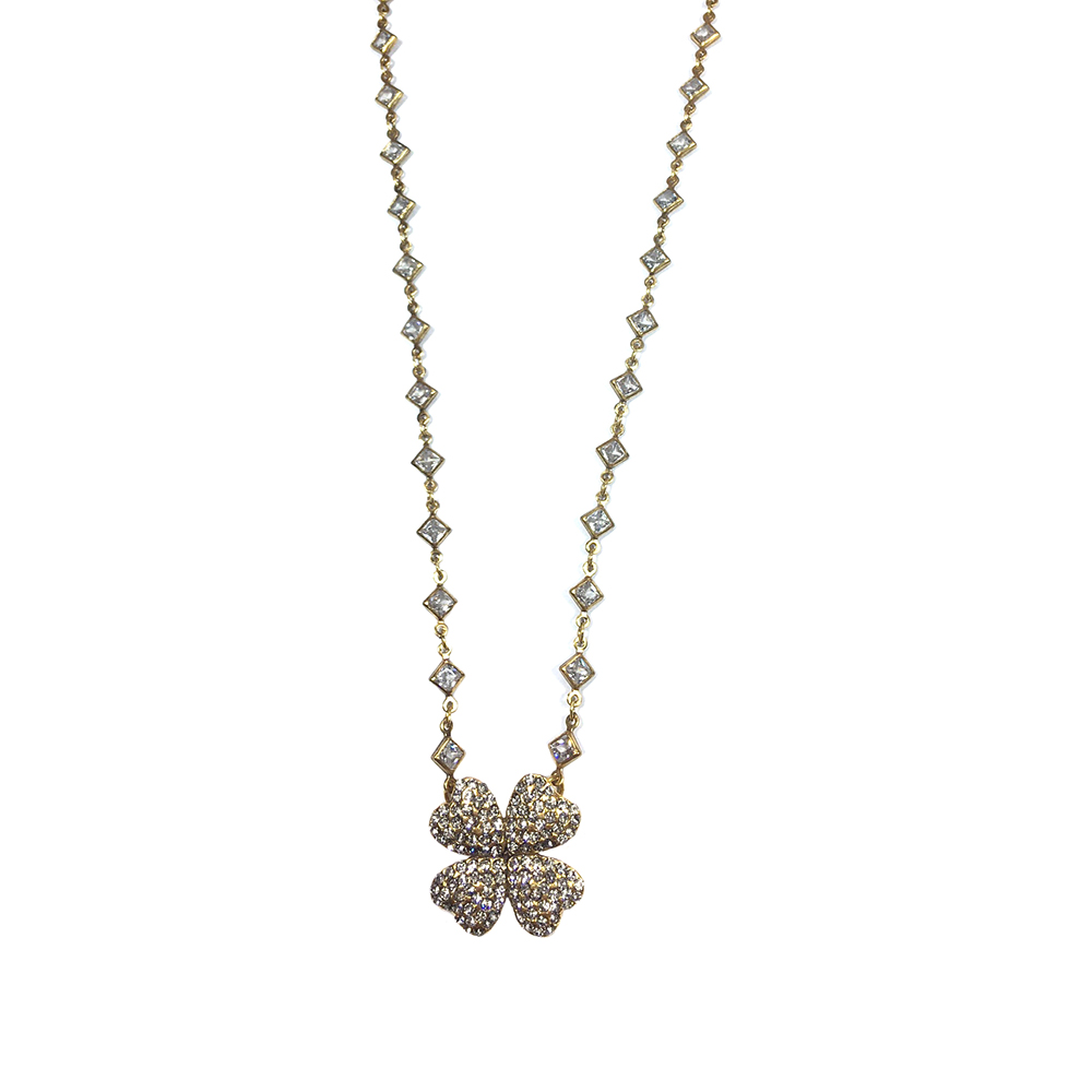 Colar Armazem RR Bijoux cristais Swarovski flor dourado