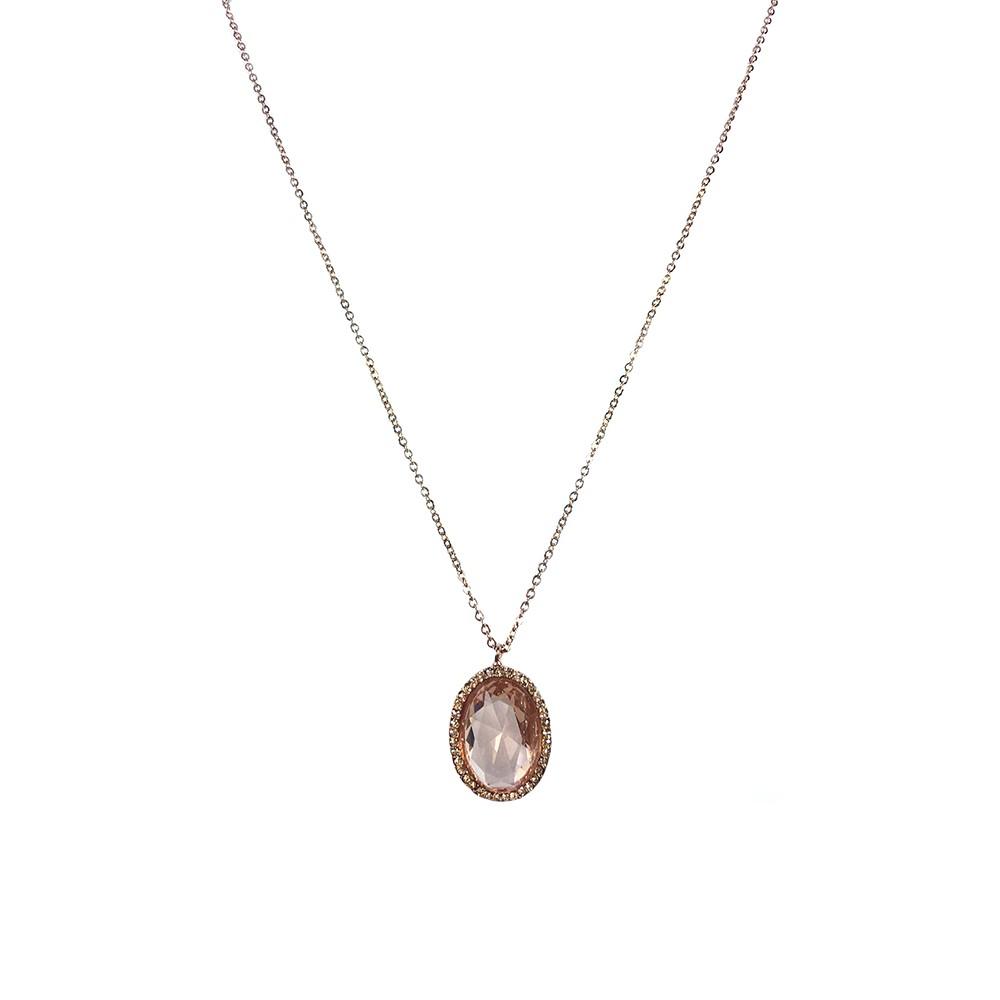 Colar Armazem RR Bijoux cristal com strass rose