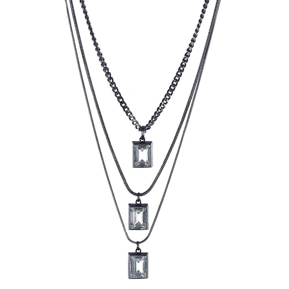 Colar Armazem RR Bijoux cristal quadrado grafite