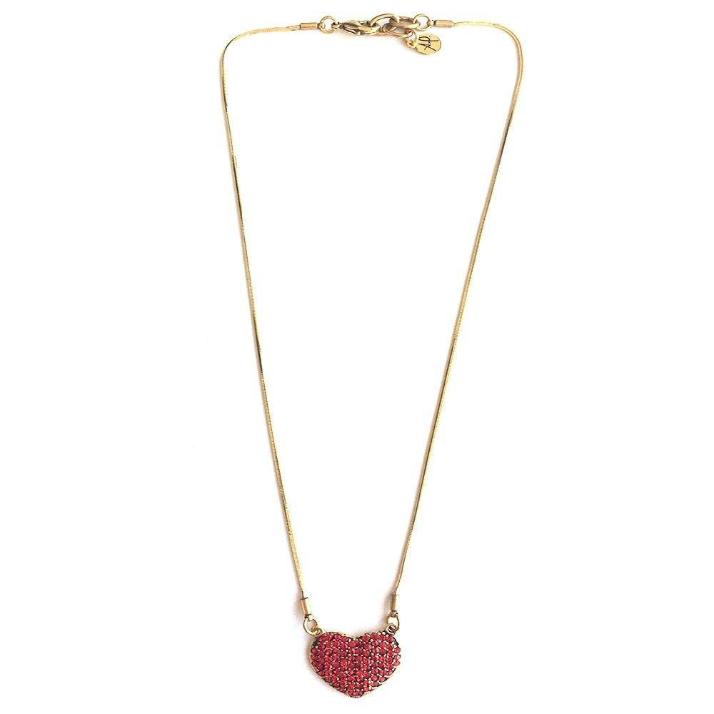 Colar Armazem RR Bijoux cristal swarovski curto coração cravejado vermelho