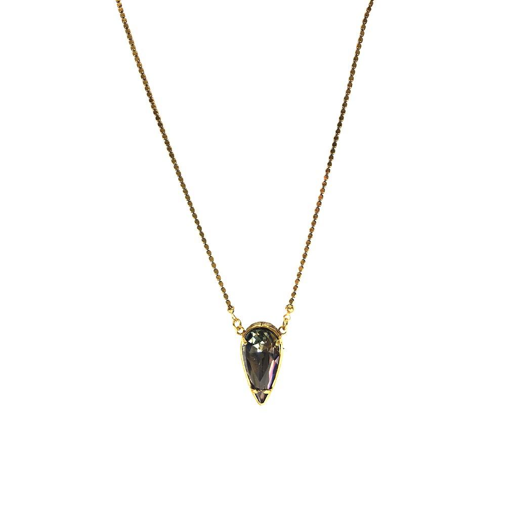 Colar Armazem RR Bijoux cristal swarovski gota dourado