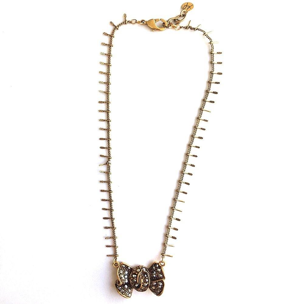 Colar Armazem RR Bijoux cristal swarovski laço dourado