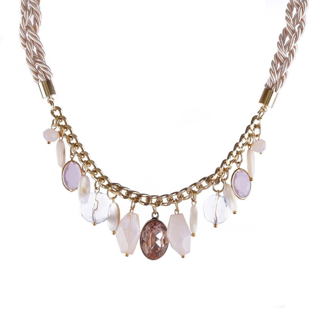 Colar Armazem RR Bijoux curto cordão com cristais e pedras dourado