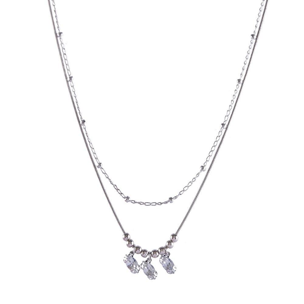 Colar Armazem RR Bijoux curto duplo prata