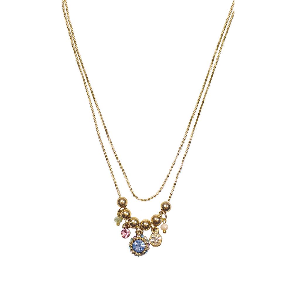 Colar Armazem RR Bijoux duplo cristais coloridos dourado