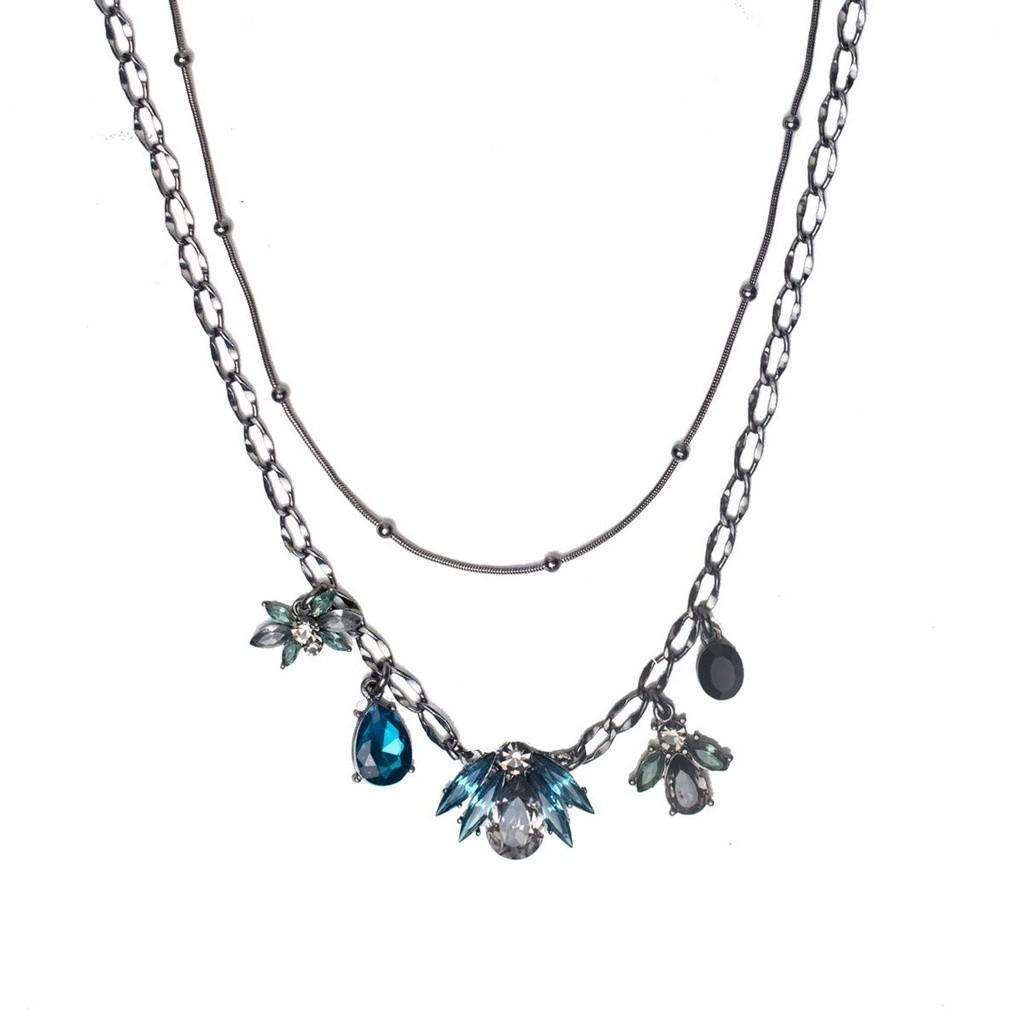 Colar Armazem RR Bijoux duplo cristal azul grafite
