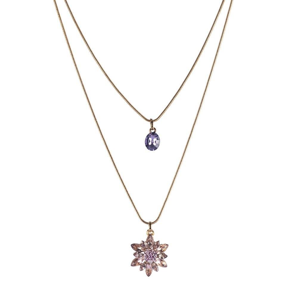 Colar Armazem RR Bijoux duplo curto cristais rose