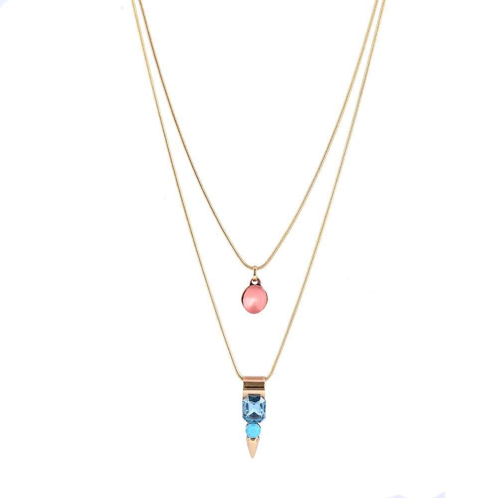 Colar Armazem RR Bijoux duplo pedra rosa e azul