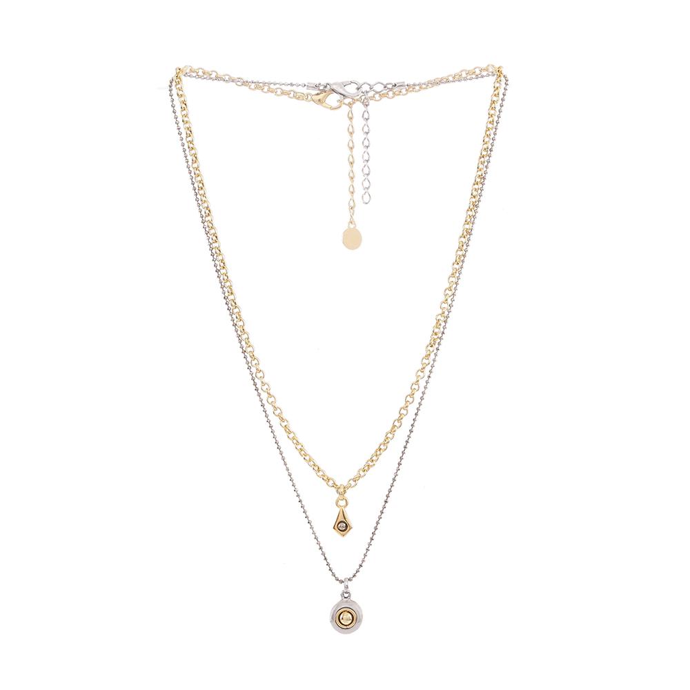 Colar Armazem RR Bijoux duplo pingentes cristais prata e dourado