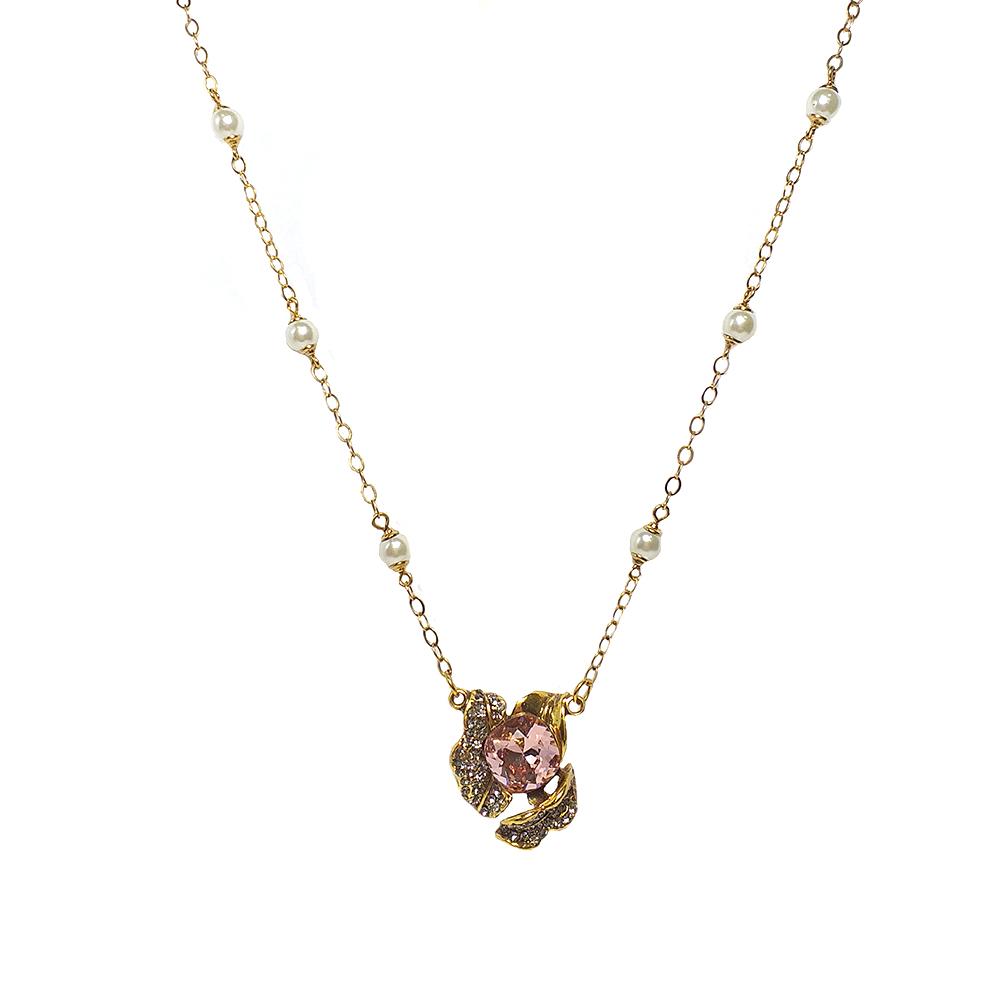 Colar Armazem RR Bijoux flor com cristal Swarovski rosa dourado