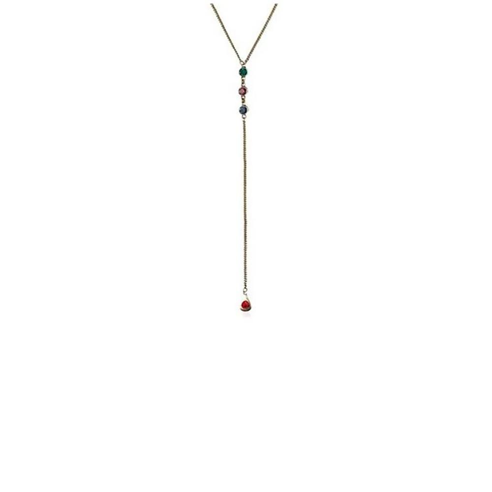 Colar Armazem RR Bijoux gravata cristais coloridos