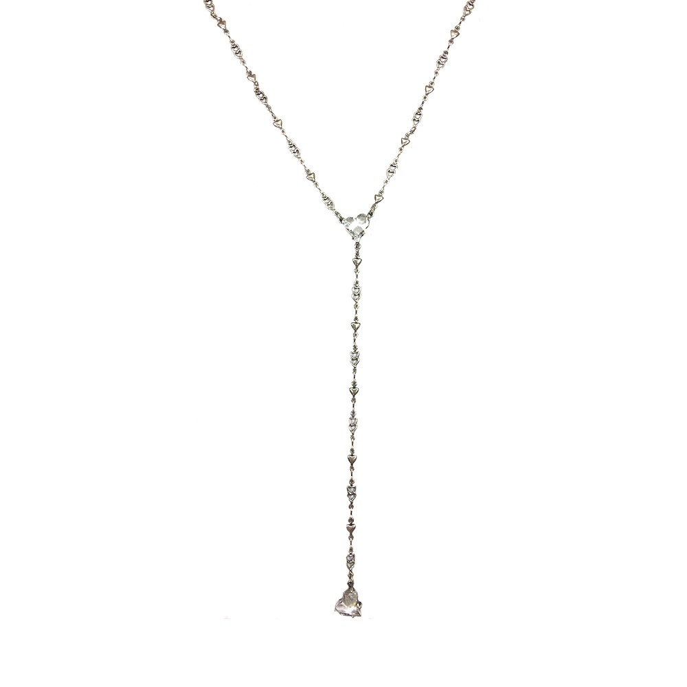 Colar Armazem RR Bijoux gravatinha coração Swarovski prata