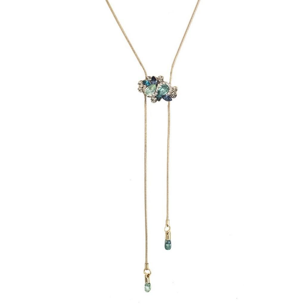 Colar Armazem RR Bijoux gravatinha cristais verdes dourado