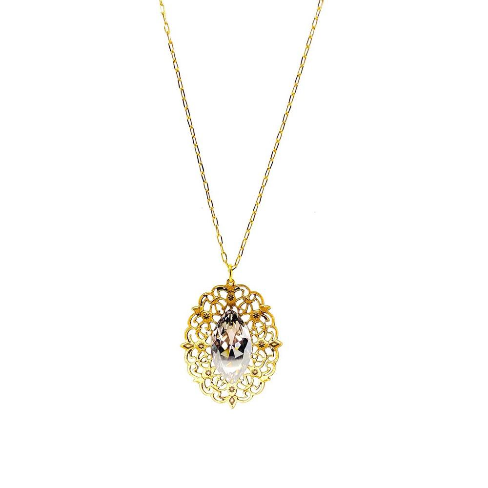 Colar Armazem RR Bijoux medalha cristal Swarovski dourado
