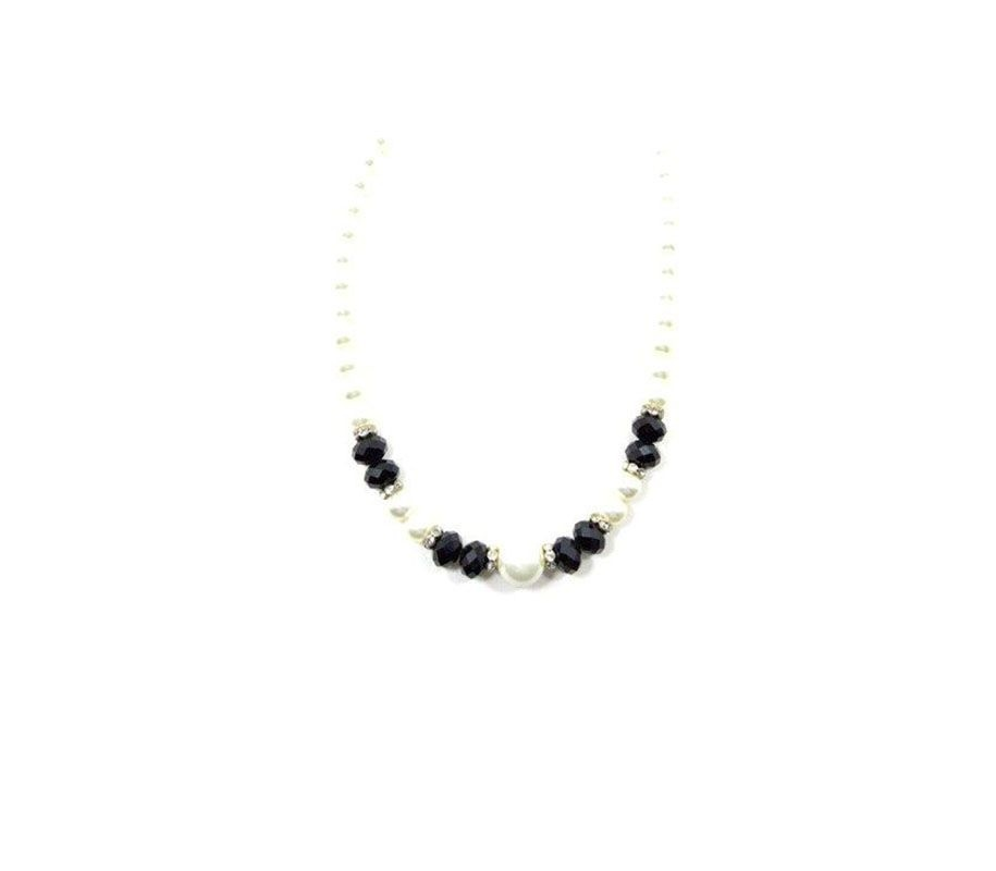 Colar Armazem RR Bijoux pérolas com cristais pretos