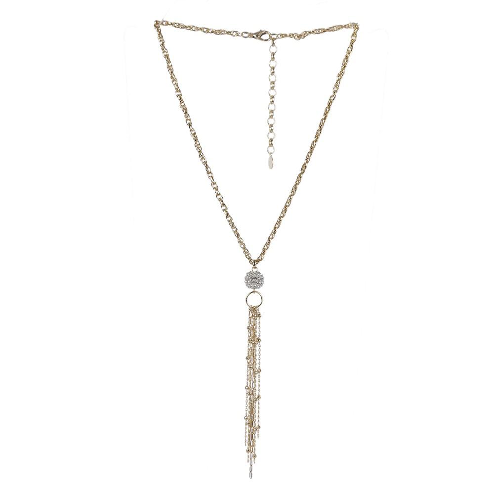 Colar Armazem RR Bijoux pingente com cristais e correntes dourado