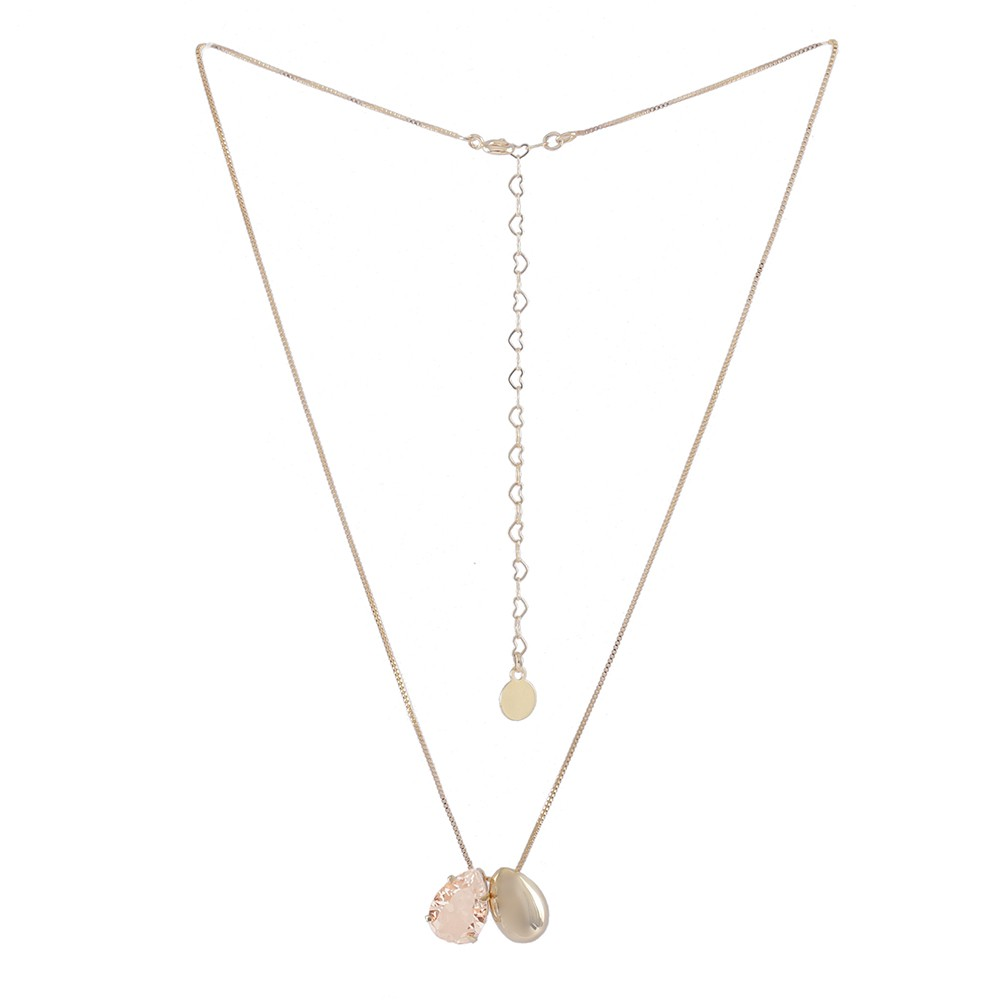 Colar Armazem RR Bijoux pingente duplo cristal rose dourado