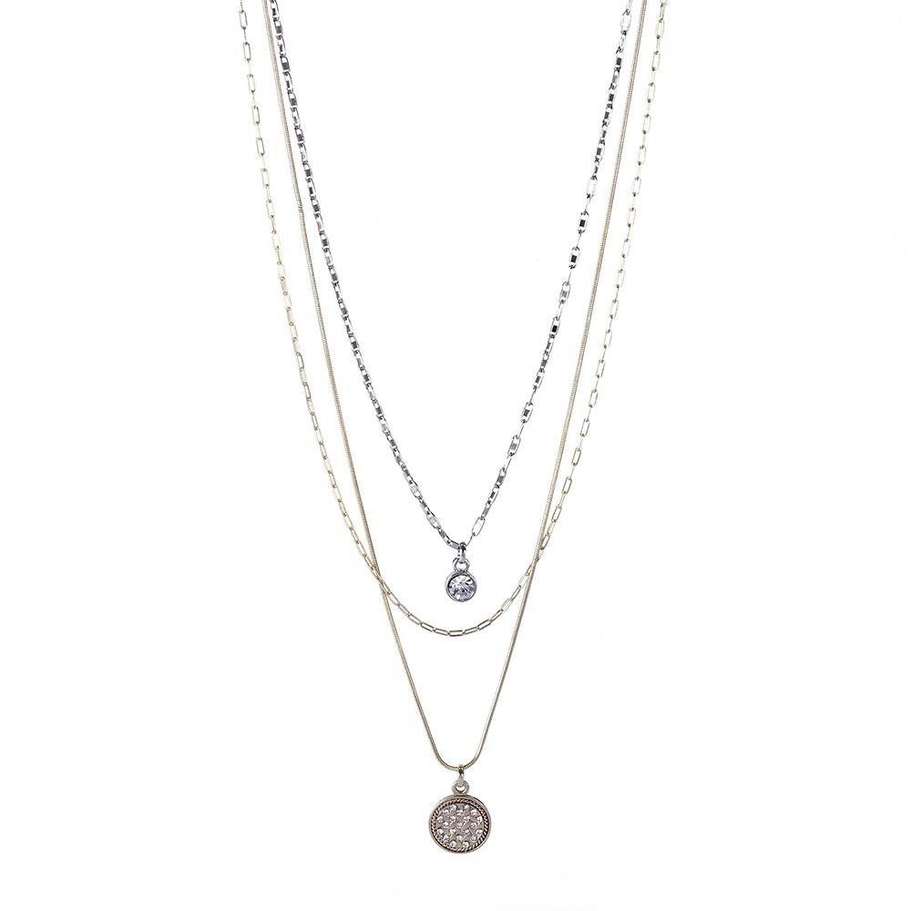 Colar Armazem RR Bijoux triplo medalha com cristais dourado e prata