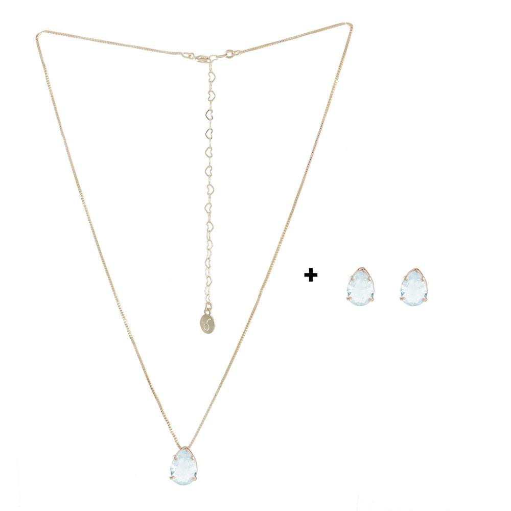 Conjunto Colar e Brinco Armazem RR Bijoux gota cristal azul-claro dourado