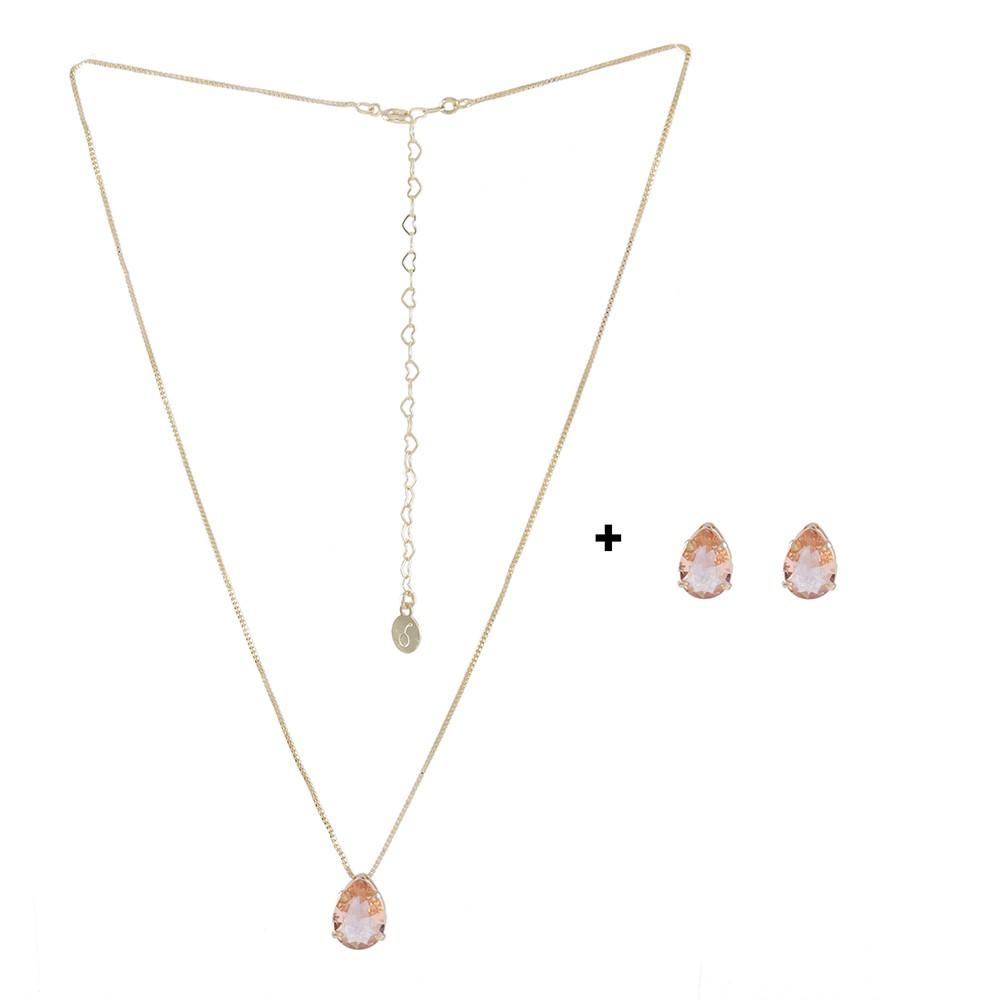 Conjunto Colar e Brinco Armazem RR Bijoux gota cristal rose dourado
