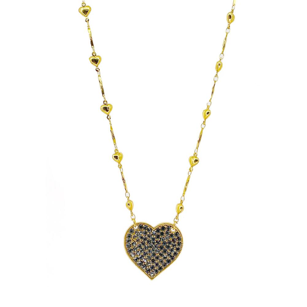 Colar curto Armazem RR Bijoux corações cristais Swarovski dourado