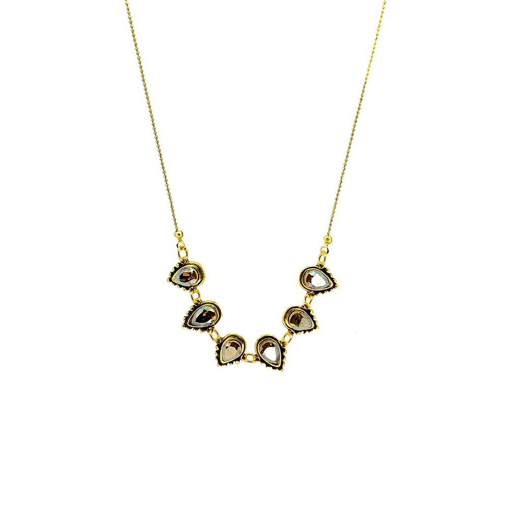 Colar curto Armazem RR Bijoux cristais Swarovski gota dourado