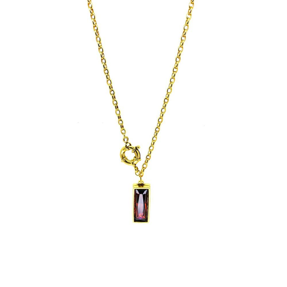 Colar curto Armazem RR Bijoux cristal Swarovski vinho dourado