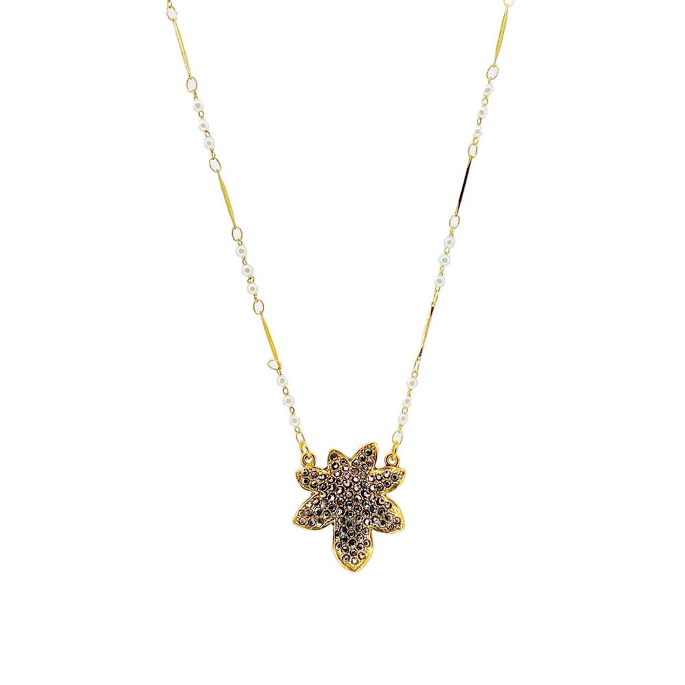 Colar curto Armazem RR Bijoux flor cristais Swarovski dourado