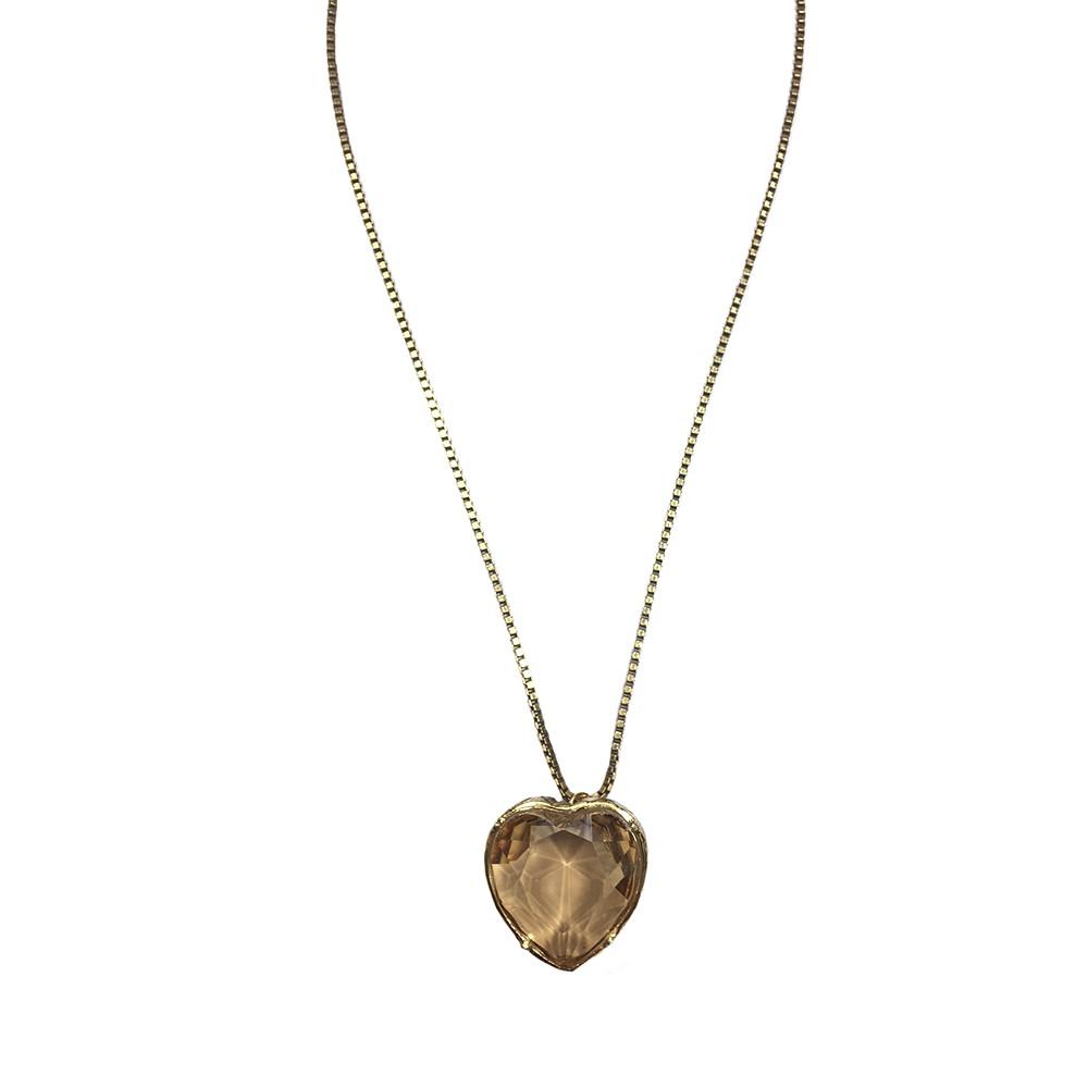 Colar curto Armazem RR Bijoux pedra Swarovski coração dourado