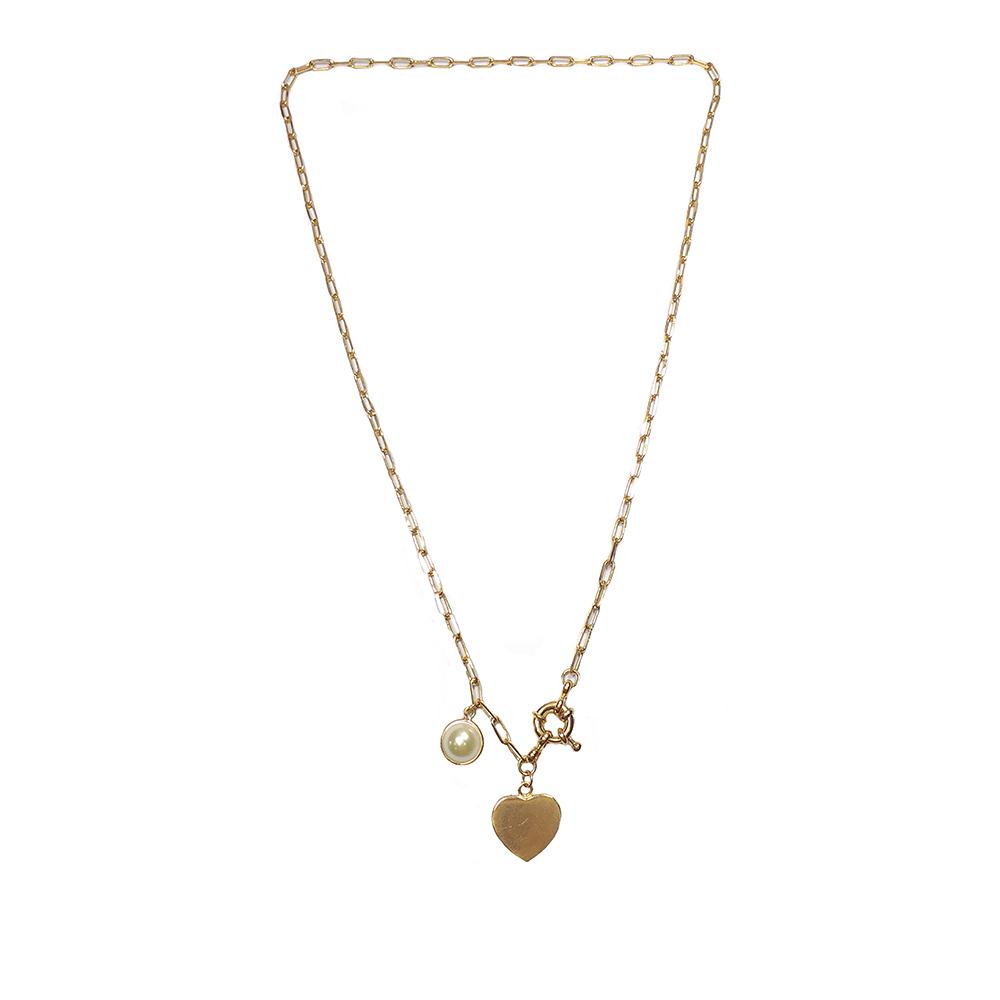 Colar curto Armazem RR Bijoux pérola e coração dourado