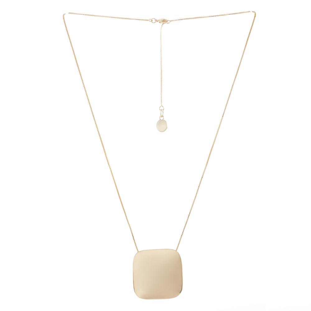 Colar curto Armazem RR Bijoux quadrado dourado
