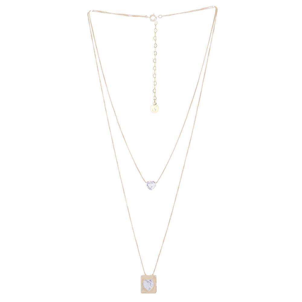 Colar duplo Armazem RR Bijoux cristal coração dourado