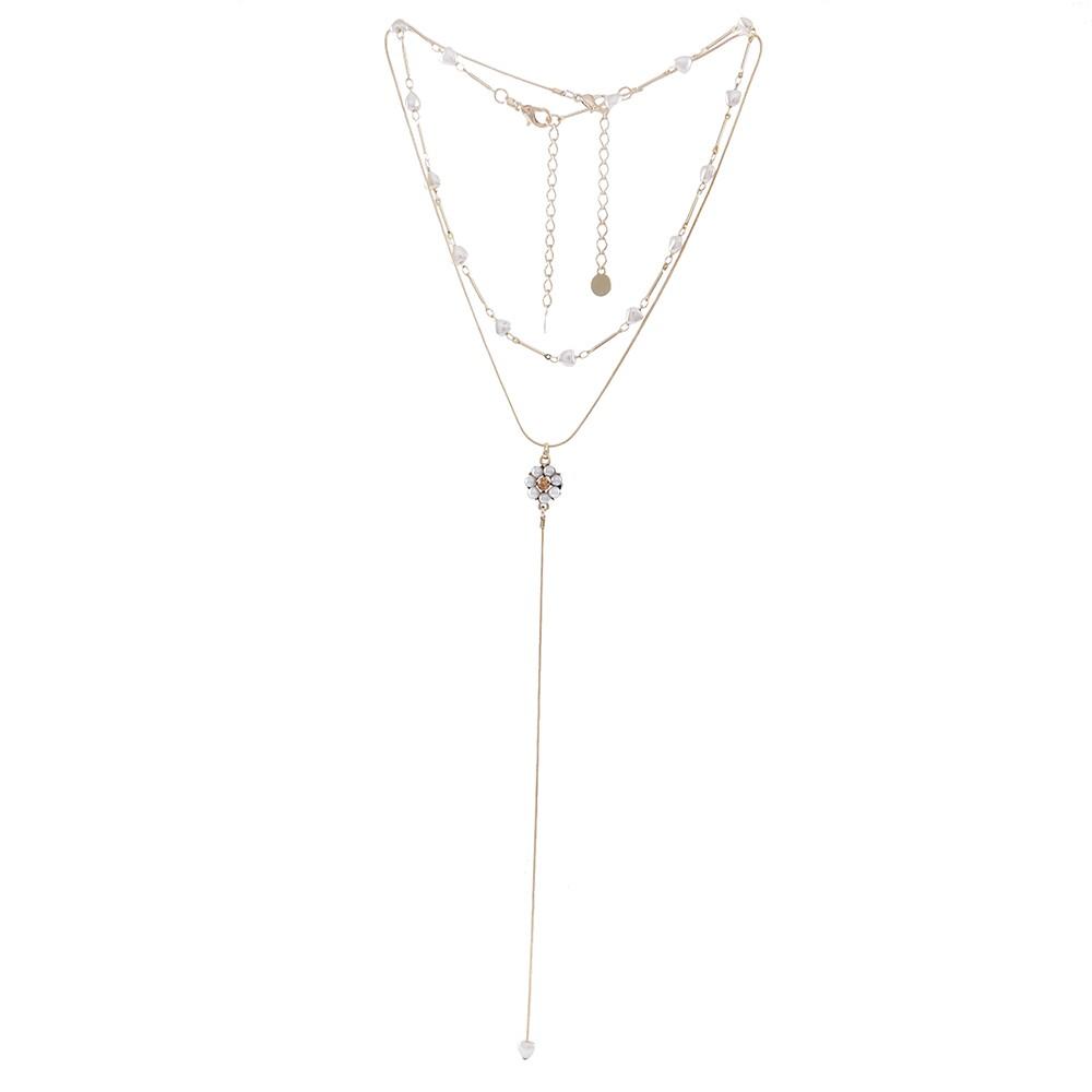 Colar duplo Armazem RR Bijoux flor pérolas e cristal dourado