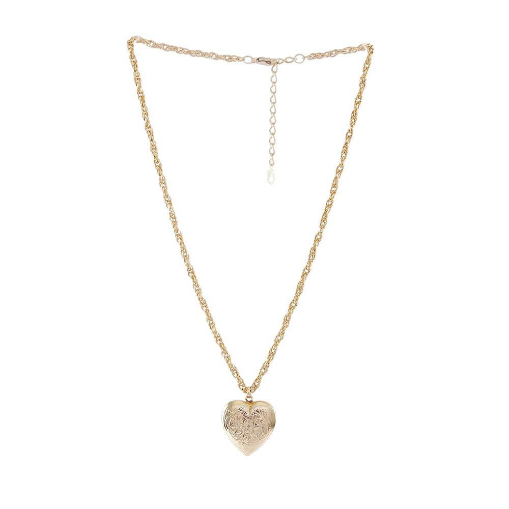 Colar Armazem RR Bijoux relicário coração dourado