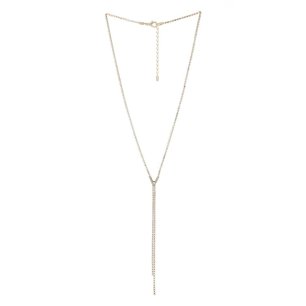 Colar longo Armazem RR Bijoux mini cristais dourado