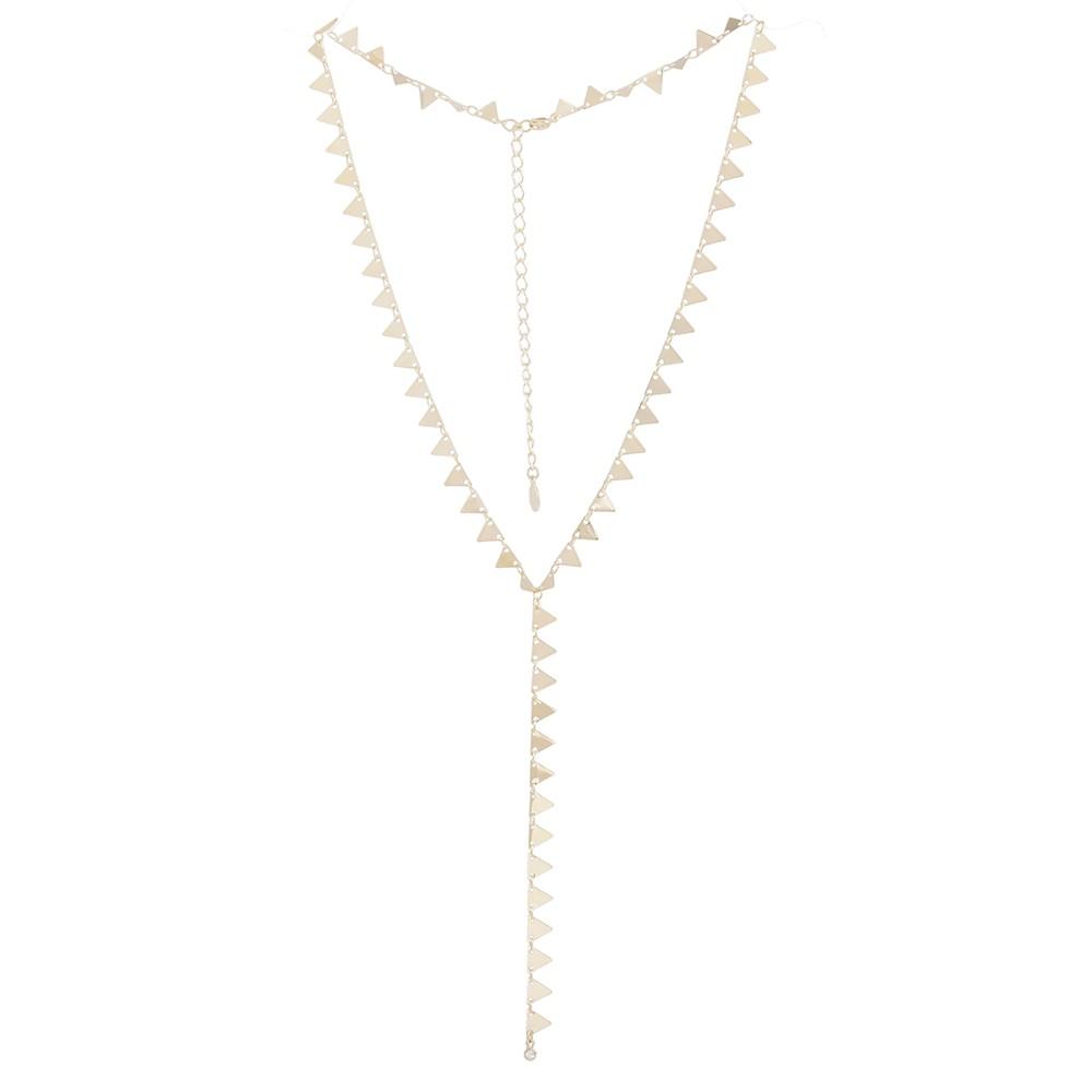 Colar longo Armazem RR Bijoux mini triangulos dourado