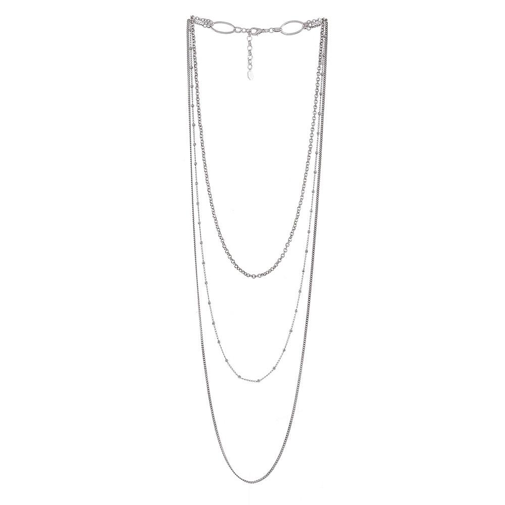 Colar longo triplo Armazem RR Bijoux prata