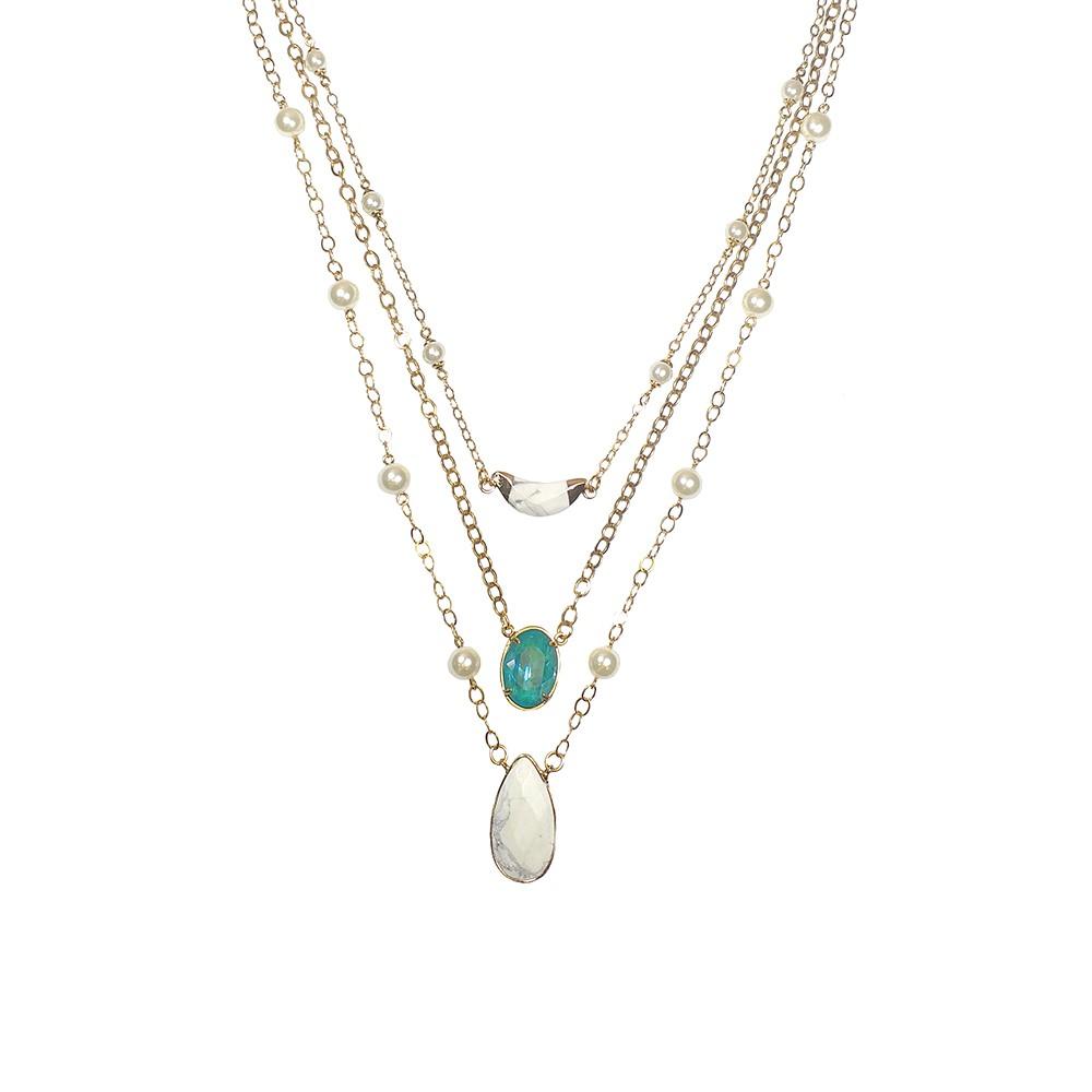 Colar triplo Armazem RR Bijoux perolas e cristal Swarovski dourado