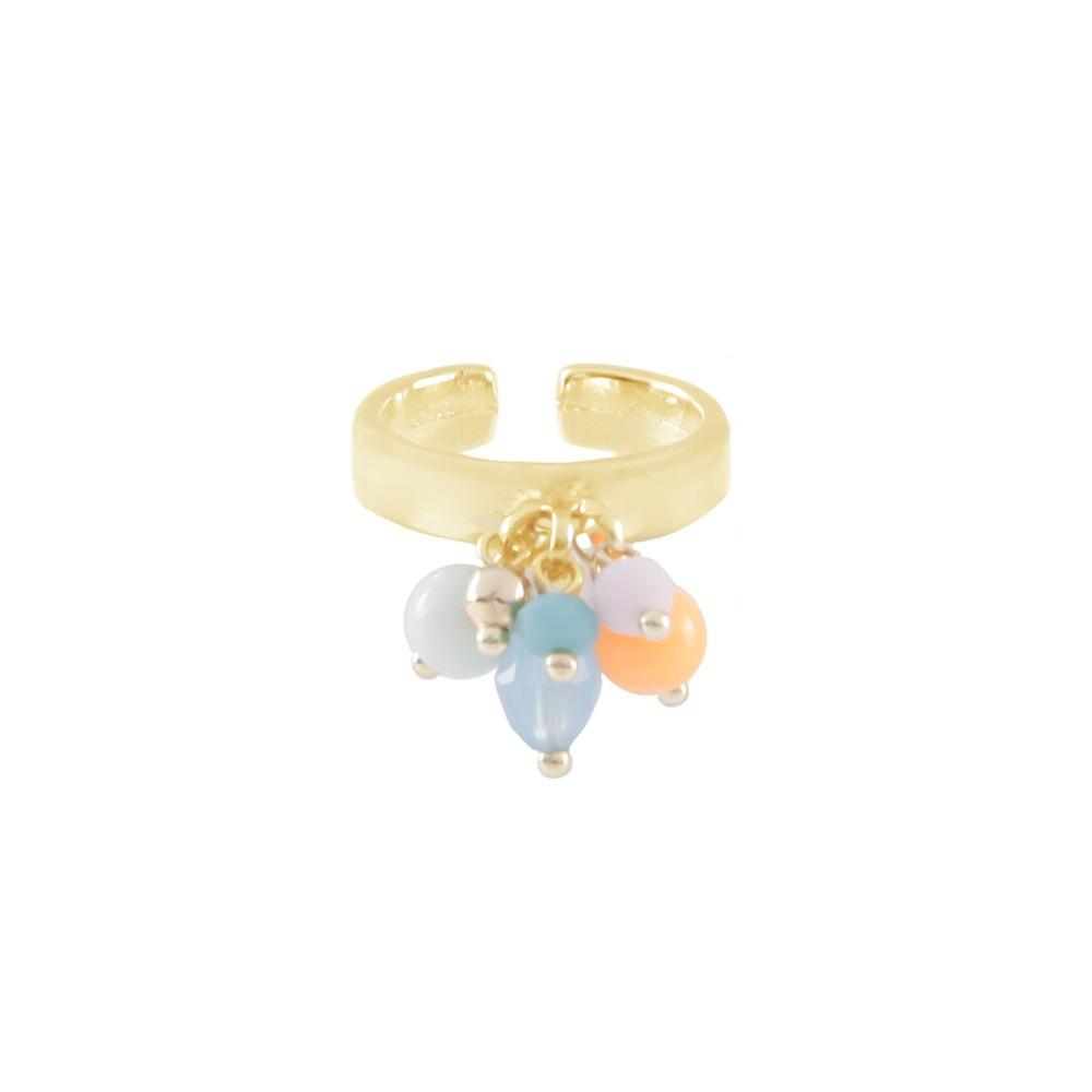 Anel Armazem RR Bijoux pingentes coloridos dourado