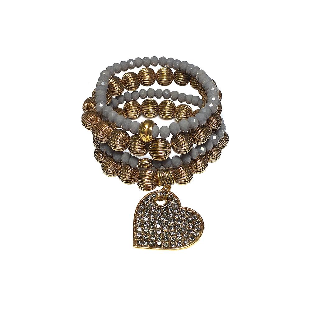 Mix de Pulseiras Armazem RR Bijoux coração cristais Swarovski dourado