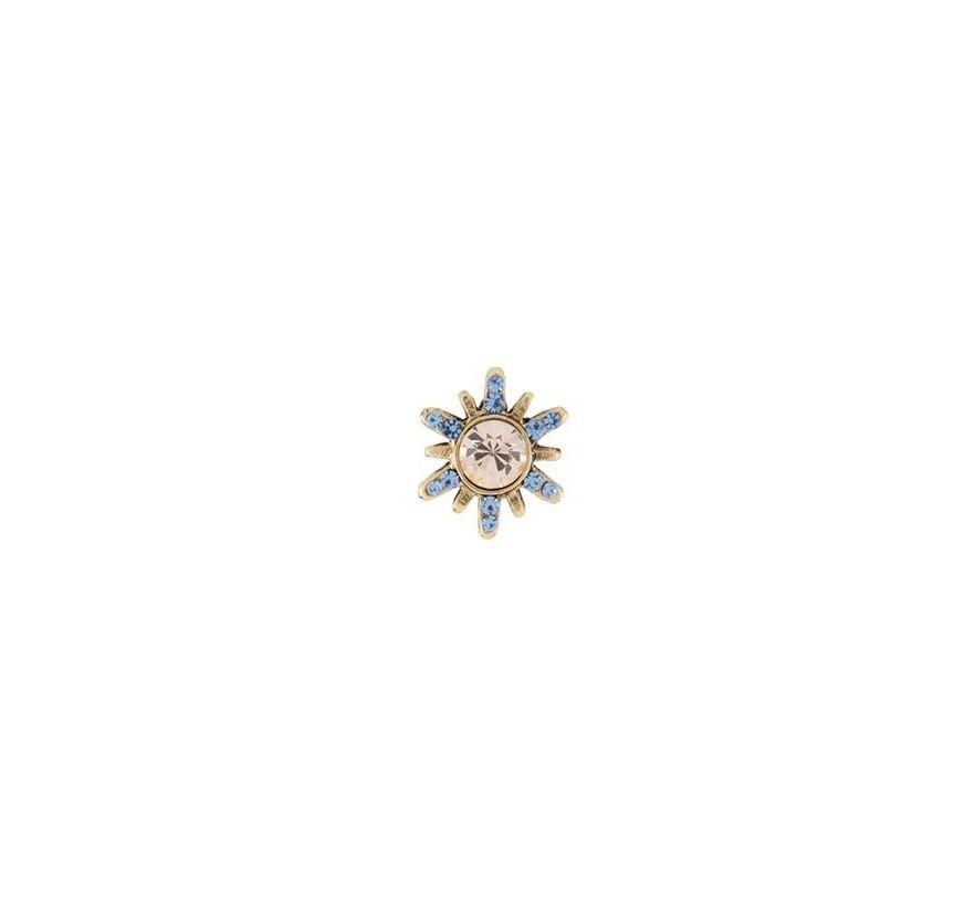 Pin Armazem RR Bijoux cristais mel e azul