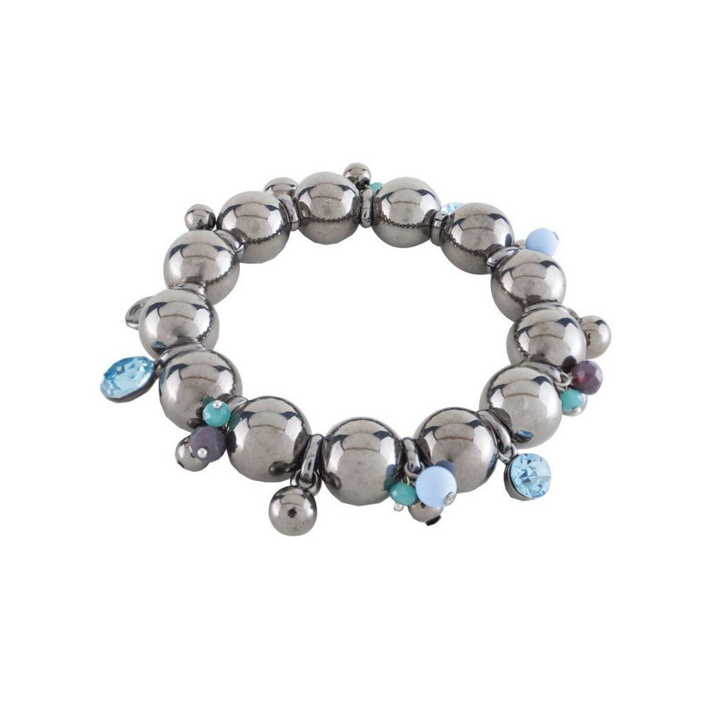 Pulseira Armazem RR Bijoux bolas cristal azul grafite