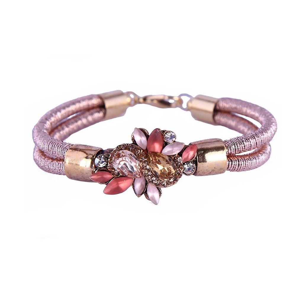 Pulseira Armazem RR Bijoux cordão cristais rosas
