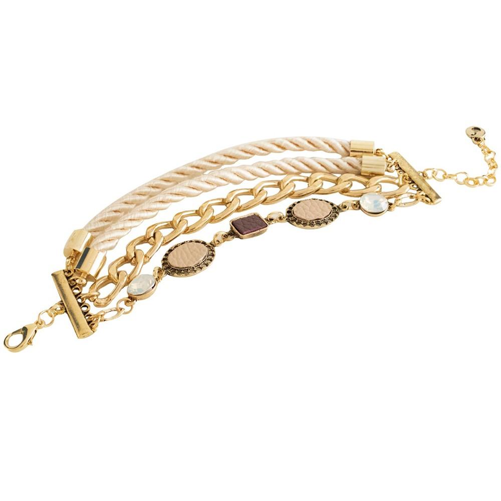 Pulseira Armazem RR Bijoux cordão e corrente dourado